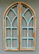 2 Wooden Antique Style Church Window Frame Shutters Wood Gothic 35 3/4 Shabby