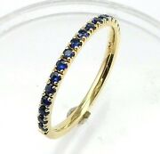 Half Eternity Blue Sapphire Wedding Band Or Stacking Ringscomfort Fit14k. Gold
