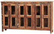 71 Renzo Sideboard Cabinet Distressed Wood Four Doors Brown Glass Panels