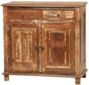 34 Gualtiero Sideboard Cabinet Wood Two Drawer Two Door Antique Brown Natural