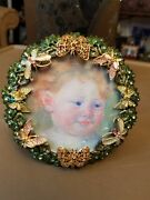 Estate Jay Strongwater Round Multi-colored Butterflies And Leaves Frame