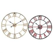 Metal Large Round Shaped Antique Iron Wall Clock Roman Numerals