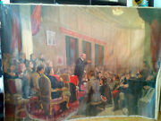 160x230 Russian Soviet Realism Painting Oil Canvas Lenin At Congress 60s