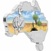 1 Dollar Emu Australian Map Shaped Australien 1 Oz Silber 2012