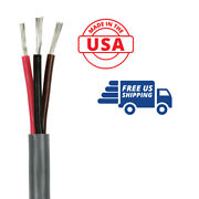 14/3 Awg Triplex Marine Bilge Pump Wire Cable Red/black/brown 100 Ft. Usa Made