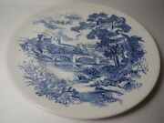 Vintage Blue Countryside Scene Wedgewood Co China England 9 3/4 Luncheon Plate