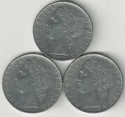 3 Older 100 Lire Coins From Italy 1956, 1957 And 1958