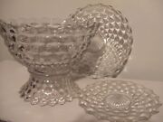 Fostoria American Clear Punch Bowl And Stand With Platters