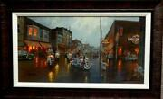 Dave Barnhouse Here They Come Harley Motorcycle Canvas Print S/n Framed