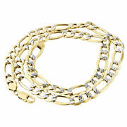 Mens Real 10k Yellow Gold Diamond Cut Figaro Chain 9.50mm Necklace 20-30 Inches