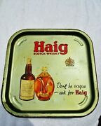 John Haig Scotch Whisky Vintage 13.5 Square Beer Breweriana Tray Dimple Bottle