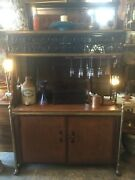 Vintage French Wrought Iron Brass And Wood Bakerandrsquos And Wine Rack