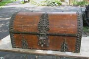 Antique Asian Indian Brass Clad Dome Top Trunk India 19th Century