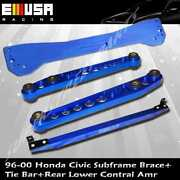 Emusa Rear Lower Control Arm Subframe Brace Tie Bar Blue For 1996-2000 Civic
