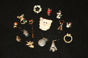 Lot Vintage Estate Jewelry Christmas Earrings Brooches Pins Charms Santa Wreath