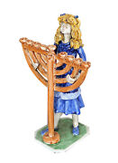 Jewish Collectors Dino Bencini,italy, Colorful Sculpture Girl With A Menorah