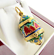 One Of A Kind Solid Sterling Silver 925 And 24k Gold Egg Pendant W/ Christmas Tree