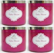 4 Bath And Body Works Cactus Blossom 3-wick Filled Candle 14.5 Oz White Barn