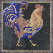 Blue Tail Feather Rooster Backsplash 31x31 Marble Mosaic An465
