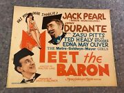 Meet The Baron 1933 Orig. Theater Issued Lobby Card 11x14 F Very Rare Find