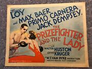 The Prizefighter And The Lady 1933 Orig. Lobby Card 11x14 F+ Rare Title Card