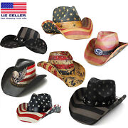Menand039s Vintage Tea-stained Usa American Flag Shape-it Brim Cowboy Hat W/ Western