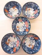 Made In Japan Blue Dogwood Flower Floral Rice Bowl Lot Of 5