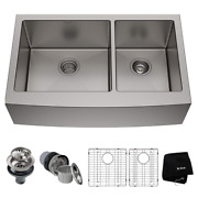 Kraus Khf203-36 36 Inch Farmhouse Apron 60/40 Double Bowl 16 Gauge Stainless Ste