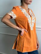 Bali Tunic Orange With Embroidered Leaf Detail Short Sleeve Size 4
