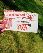 1954 Vintage Store Display Sign Admiral Console - Tv Of Tomorrow Model H2816-z