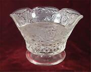 Vintage Sandwich Crystal Bowl Ruffled Compote Candy Dish Anchor Hocking Nice O