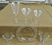 37- Pieces Of Fostoria Arcady Pat Stem 6014 Etch 326 Goblets And Plates