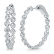 1.58ct 14k White Gold Inside Out Round Natural Diamond Hoop Earring Halo Cluster