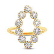 Womens Unique 0.72ct 14k Yellow Gold Open Oval Halo Diamond Cocktail Ring