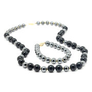 Hematite And Onyx Bead Necklace And Bracelet Set With 14k Yellow Gold