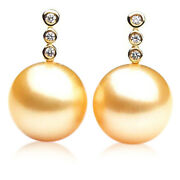 Genuine 11mm Golden South Sea Pearl Earrings Pacific Pearls® Gift For Girlfriend