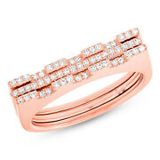 Womens 0.22ct 14k Rose Gold 2 Band Diamond Puzzle Statement Ring