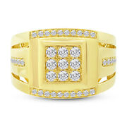 Mens 0.79ct 14k Yellow Gold Round Cut Diamond Cocktail Right Hand Mans Ring