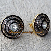 Estate Vintage 1.37cts Real Rose Antique Cut Diamond Silver Stud Earring Jewelry