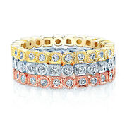 14k Tri Color Gold Diamond Stackable Rings Beaded Milgrain Antique Band Womens