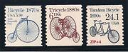 Antique 19th Century Bicycles - 3 U.s. Postage Stamps - Mint Condition