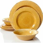 Vintage Melamine Camping Dinnerware Set 12 Piece Heavy Duty Durable Dishes Bowls
