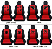 Front Car Seat Covers Blk-red W/punisher, Hawk...fits Grand Cherokee 2005-2018