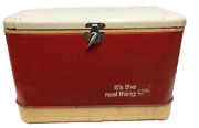 Coca Cola Thermos Cooler Coke Metal And Plastic Vintage Red White 22x14 Hinged Lid