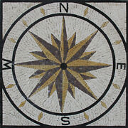 Square Compass Garden Step Stone 30x30 Marble Mosaic Geo2718
