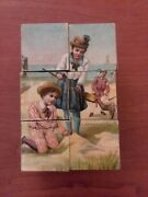 Thuringia Victorian Toy Picture Cubes - Toy Block Puzzle Collectible German