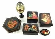 6 Piece Lot Of Vintage Russian Hand Painted Black Lacquer Boxes, Egg And Brooch