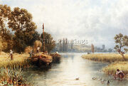 Foster Myles Birket Loading Hay Barges Young Woman Taking Water Artist Painting