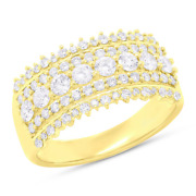 Womens 1.00 Ct 14k Yellow Gold Natural Round Cut Diamond Band Wide Ring Cocktail