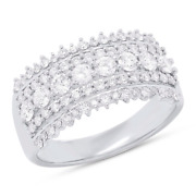 Womens 1.00 Ct 14k White Gold Natural Round Cut Diamond Band Wide Ring Cocktail
